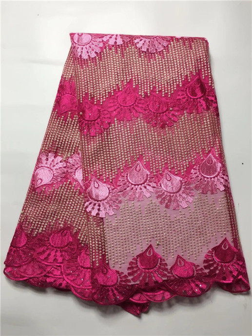 2017 African French Lace Fabric Swiss Voile Lace Tulle Lace For Nigerian Wedding Wine