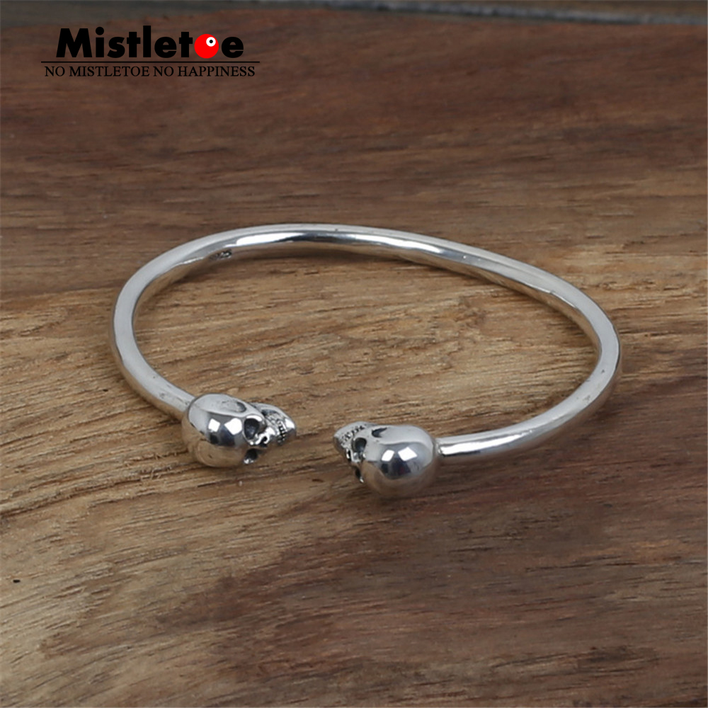 Authentic 999 Sterling Silver Vintage Retro Skull Open Adjustable Bangle Bracelet Jewelry For Women